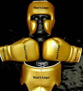 New Custom Boxing Gloves And Head Guard Any Logo or Name