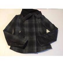Moda International Victoria's Secret XS Wool Plaid Coat Jacket Gray Black Faux