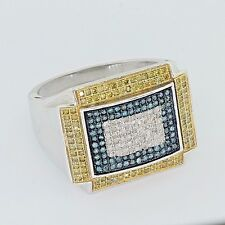 Men's Genuine 10K White Gold Yellow & Blue 1.50 CT Micro Pave Set Diamond Ring