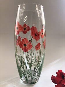 Individually Hand Painted Large barrel Poppy Vase