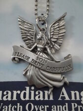 Son Please Drive Carefully Guardian Angel Auto Mirror Hanger SIGNED Pewter NEW