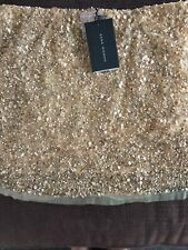 ZARA Gold Sequin Skirt Embellished Beaded in a Size Medium