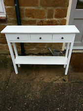 H80 W80 D20cm BESPOKE WHITE CONSOLE HALL TELEPHONE TABLE 3 DRAWER CHUNKY