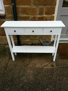 H80 W100 D25cm BESPOKE WHITE CONSOLE HALL TELEPHONE TABLE 3 DRAWER CHUNKY
