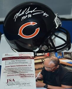 MIKE SINGLETARY SIGNED CUSTOM FACE MASK MINI HELMET CHICAGO BEARS HOF 1998 JSA