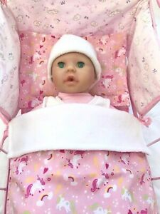 DOLLS BLANKET & PILLOW COT/PRAM BEDDING SET PRETTY PINK UNICORNS BABY ANNABELL