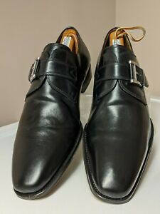 """Magnanni """"Marco"""" Black Single Monk Strap Leather Loafers (13276) US Size 10 M"""