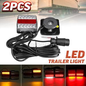 2x 12V LED Magnetic Towing Tail Light Trailer Truck Camper UTE Caravan Boat Lamp