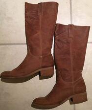 Vintage Authentic Tan Leather Knee High Cowboy Boots Boho Hippie Sz 6.5/7