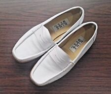 NINE WEST Womens Bishop White All Leather Upper Flat Loafer Shoes 6M