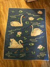 "Swan Baby Quilt Land of Nod 38"" x 49"" Soft Blue w/ White Swans & Grey Baby Swans"