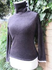 Vintage Ladies Black Spotted Velvet Feel Top-High Neck-White Buttons-Lace Size S