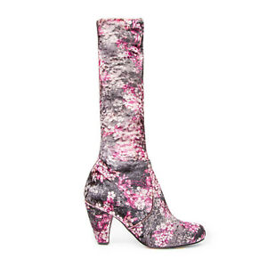 Irregular Choice Lavish Lucy (d) Black Floral Stretch Leg Boots Shoes