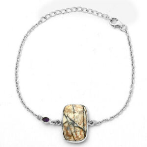 Authentic White Buffalo Turquoise Nevada and Amethyst 925 Silver Bracelet 6048