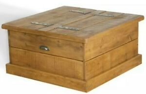 SOLID WOODEN COFFEE TABLE STORAGE CHEST BOX CONSOLE RUSTIC PLANK PINE FURNITURE