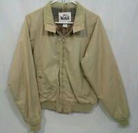 Vintage WOOLRICH Khaki NYLON Wool Lined JACKET Rain Coat Waist Coat MADE IN USA!