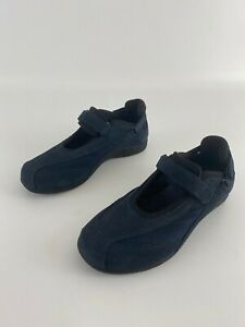 Drew Barefoot Freedom Womens Navy Leather Hook & Loop Mary Janes US Sz 7.5 W