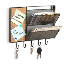 Mail Rack Wall Mount Key Organizer Letter Holder Storage Hooks with Cork Board