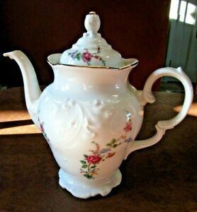 Wawel China  Footed Coffee Teapot Gold Trim Floral Design Poland