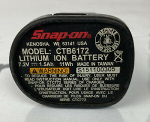 317 Snap-On Lithium Ion Battery 7.2v Model 1.5Ah CTB6172