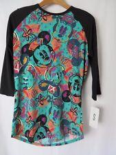 LuLaRoe DISNEY Randy Tee Black Raglan Sleeve Green Abstract Mickey Mouse S #5313