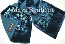 Teal Blue Scarf Sequin Velvet & Georgette Double Sided Maya Matazaro