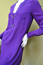GUCCI Womens Dress Purple Silk Long Slevees Sz 38 2