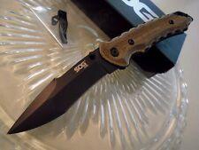 SOG Small Kiku Matsuda Tactical Pocket Knife Aus-8 Micarta Black KU-1002 2 Clips