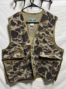 Vintage Game Winner Sportswear Duck Camo Hunting Vest Size XL 46/48 Game Pouch