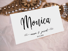 Wedding Placecards Name Personalised Custom Escort Name Table Setting Guest Name