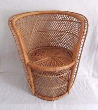 "Small Buri Wicker Round Back Chair Rattan TIKI Cottage Peacock 21"" Child Size"