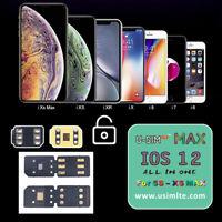 USIM LTE Max Nano Unlock Card For iPhone XS XR/X/8/7/6 Plus iOS 12.3 12 4G Lot