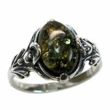 GORGEOUS NATURAL GREEN BALTIC AMBER 925 STERLING SILVER RING SIZE 5-10