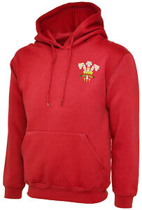 Wales Retro Embroidered Red Hoodie, XS-6XL, Ideal Gift/Present
