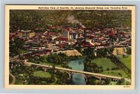 Danville IL, Bird's-Eye City & Vermilion River Vintage Linen Illinois Postcard