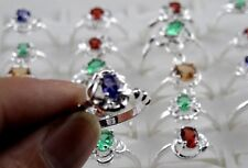 New Fashion 925 Silver Colorful CZ Women Band Ring SZ 6-8 10pcs lot mixed Size