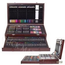 143 DRAWING SET Pencil Pastel Color Draw Kit Paint Art Supplies Craft Wood Case