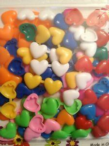 Mini Heart Barrettes (Snaps) multicolor for braids, twists,cornrows