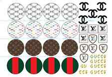 16 x designer look cupcake toppers + 16x logo's icing cup cake toppers birthday