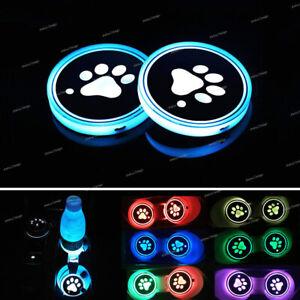 2x LED Car Cup Holder Pad Mat Dog Paw RGB Auto Atmosphere Light 68mm Universal