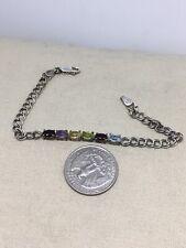 "Sterling Silver 7"" Multi Stone Bracelet 5g (6-8)"