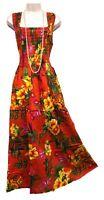 100% Cotton Long Boho Maxi Dress Sleeveless Party Evening Size 14 16 18 20 22 24