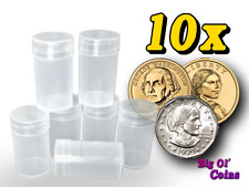 10 Small US Dollar/SBA/Presidential Translucent Plastic Coin Tubes - Holds 25