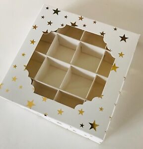 4 X Window Sweet Boxes with inserts Christmas CHOCOLATES Truffles GOLD STAR