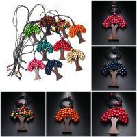 Jewelry Bohemia Long Handmade Wooden Necklace Pendant Beads Christmas Tree