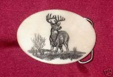 Deer - Etched Cultured Marble Western Belt Buckle