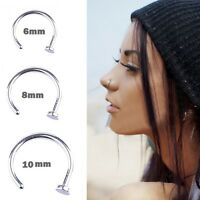 10PCS Punk Clip On Fake Nose Open Hoop Ring Lip Chic Earring Ring Body Piercing