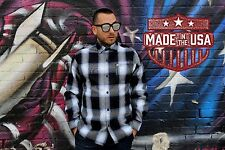 CalTop Old School Plaid Flannel Long Sleeve OG Veterano Biker Button Up Shirt