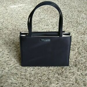 Vintage Kate Spade Mini Sam Tote Handbag Box Style Bag in Black Satin