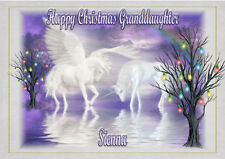 Personalised christmas card unicorn  daughter granddaughter niece sister